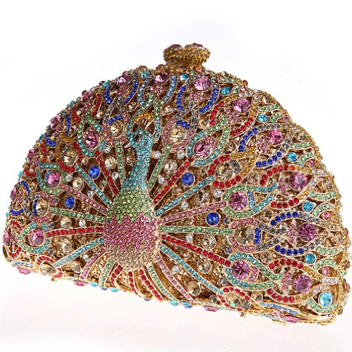 KAXIDY Único de Cristal de Diamante del Pavo Real Bolsa Mujeres Diamante De Noche Elegante Bolso de Embrague (Dorado) Dorado