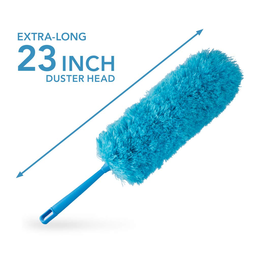 4pcs Best Microfiber Duster with Extension Pole | Large Fluffy Microfiber Cobweb Duster, Extra Large Microfiber Feather Duster, Flexible Microfiber Ceiling & Fan Duster | 4-Foot Telescopic Pole by SKA HomeStore (Image #3)