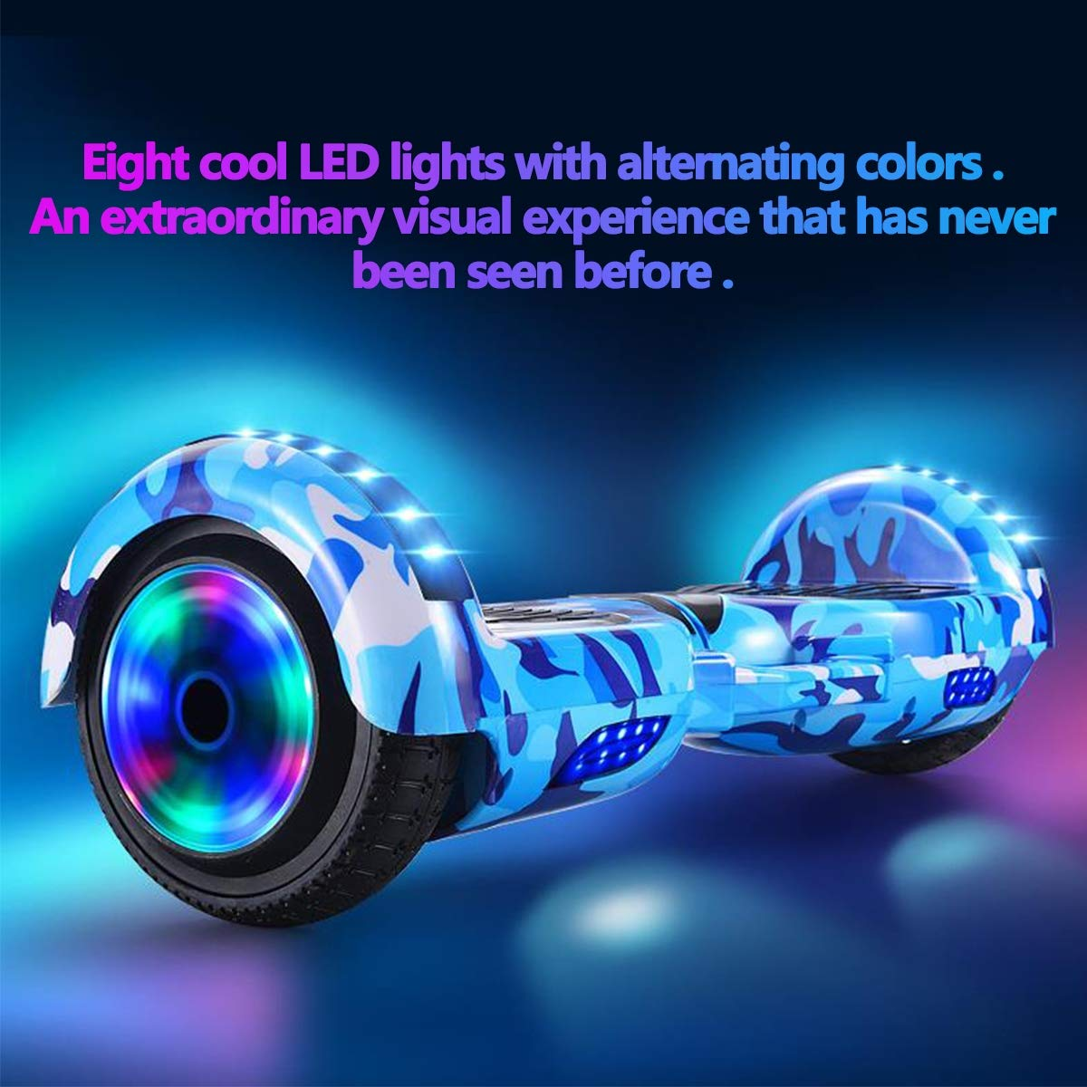 Built-in Bluetooth Speaker Style: Ice fire//350W//30000mah//15km//h LED Wheels Side Lights, Electric Smart Self Balancing Scooter Hoverboard