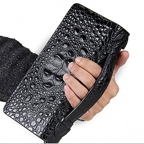 Contacts Alligator Crocodile Embossed Genuine Leather Mens Business Clutch Purse Bag Double Zipper Wallet Black