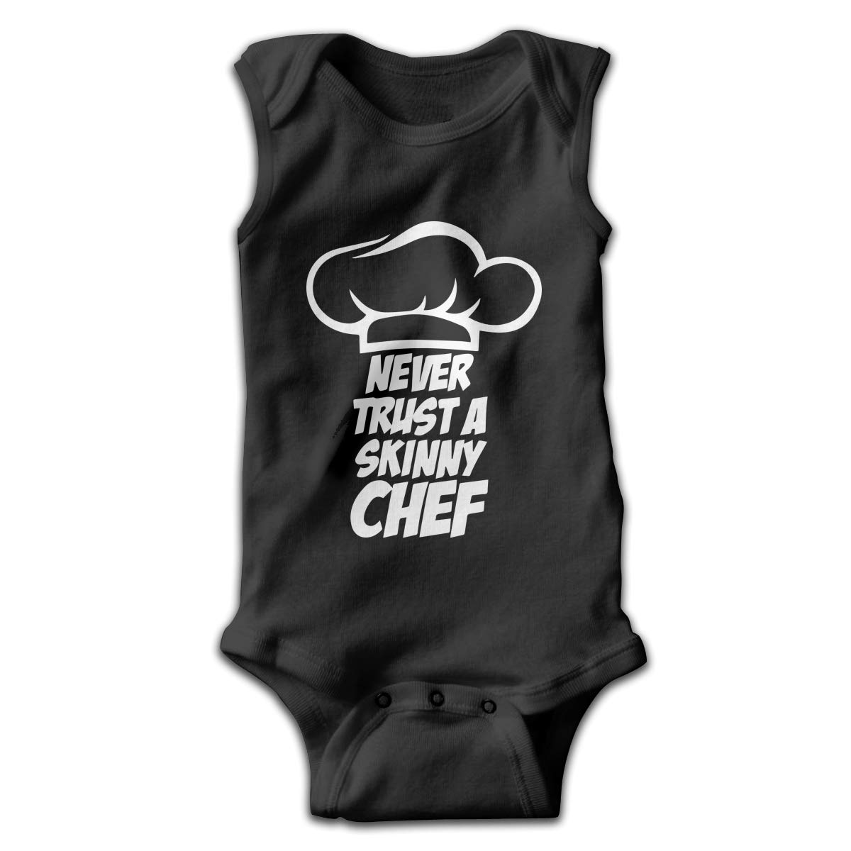 Toddler Never Trust A Skinny Chef 1 Sleeveless Baby Clothes Playsuit Suit 0-24 Months