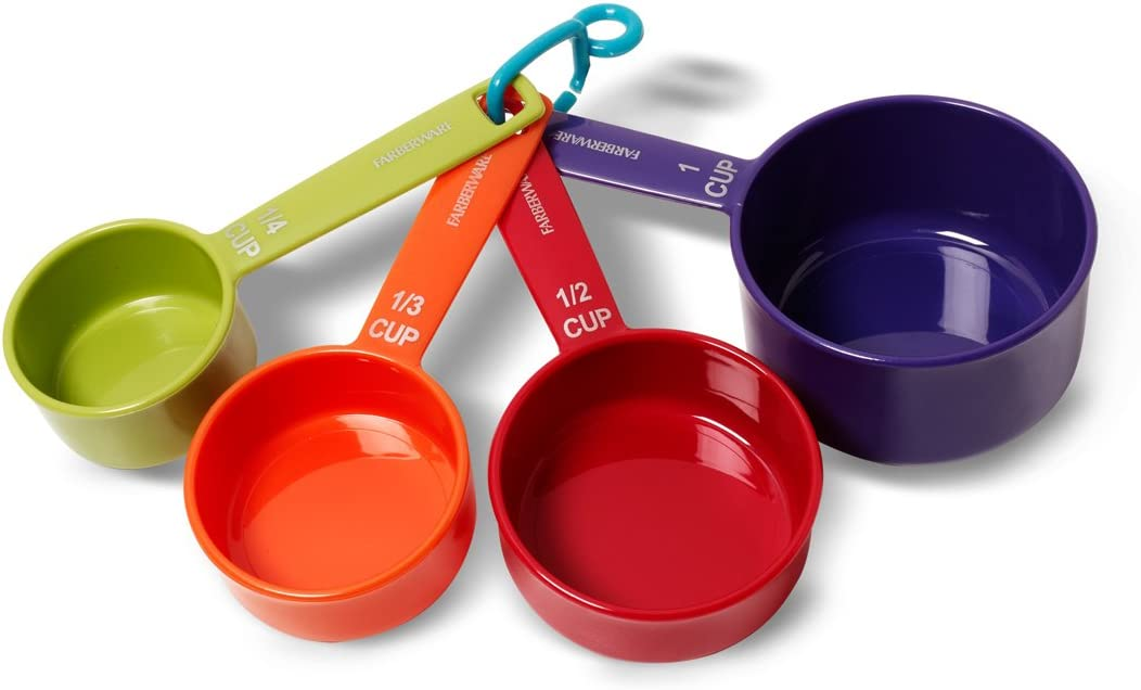 Red Farberware 5216114 Professional Plastic Measuring Cups with Coffee Spoon Set of 5