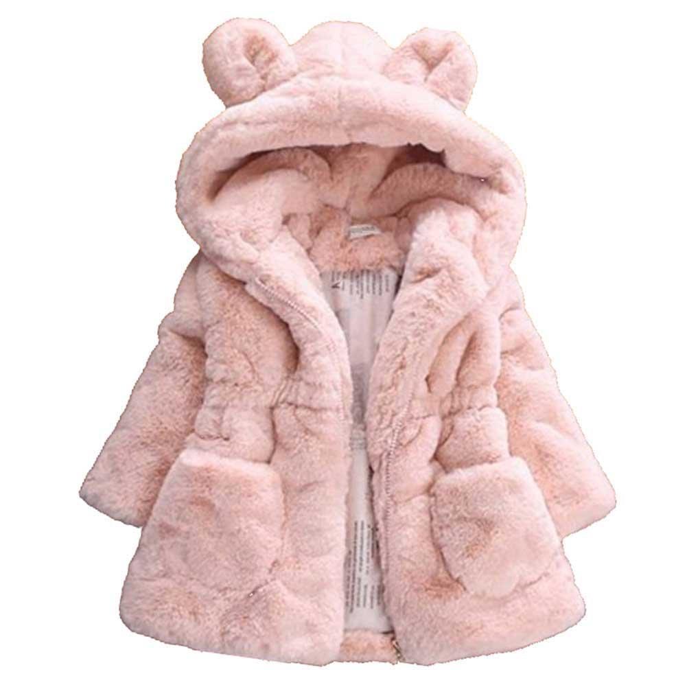 SLLSKY Toddler Girl's Hooded Jackets Faux Fur Autumn Winter Warm Hoodies Coats
