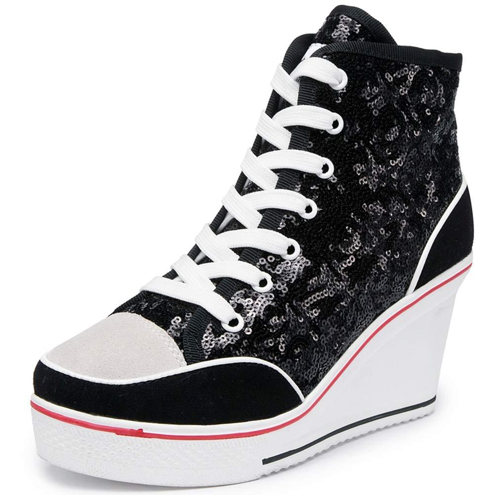 9d70e8291b8c6 NOMIMAS Women Wedge Sneakers Lace-Up Spring Autumn High Heel Mixed Colors  Glitter Vulcanize Flock Platform Casual Shoe