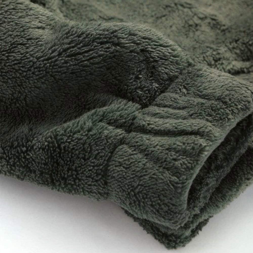 ÜLKÜCÜ Market Kapuzenpullover Wellsoft Teddy Fleece Weich Sweatshirt mit Kapuze Hoodie Pullover Herren Kaki 161