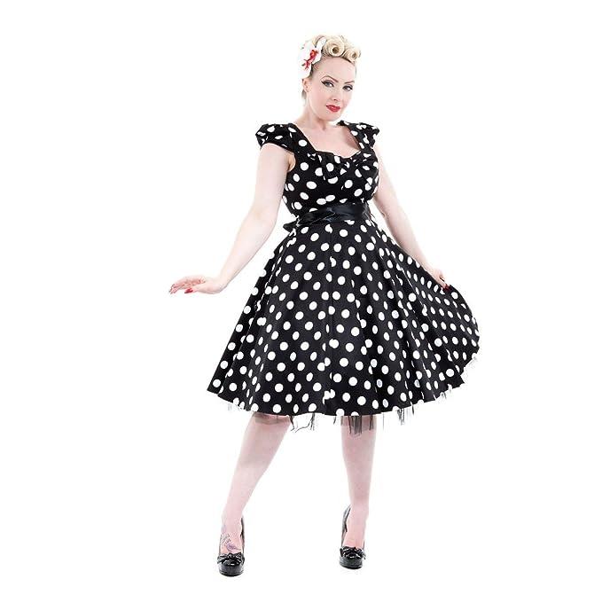 Mujer color blanco y negro de lunares 50 años Rockabilly Swing paseo-vestido de fiesta