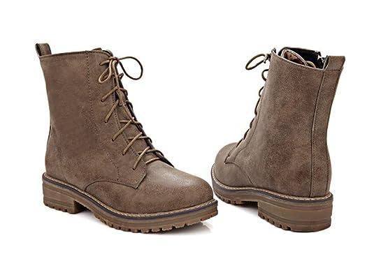 Honeystore Daman Schnürstiefeletten Damenschuhe Combat Boots Pump Schnürer Schnürsenkel Stiefeletten Grau 40CN FsAQa