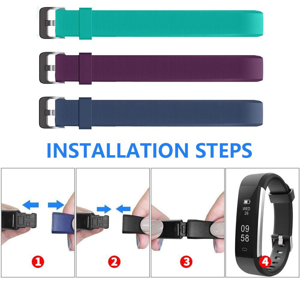 Amazon.com : Lintelek Replacement Bands for ID115U ID115U HR Fitness Tracker Length Adjustable Replacement Straps, TPE & Waterproof : Sports & Outdoors
