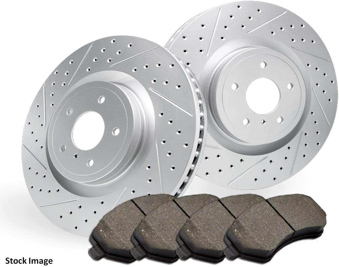 5.0 Engine Only 2015 for Land Rover Range Rover For Both Left and Right Rear Premium Quality Cross Drilled and Slotted Coated Disc Brake Rotors And Ceramic Brake Pads - One Year Warranty