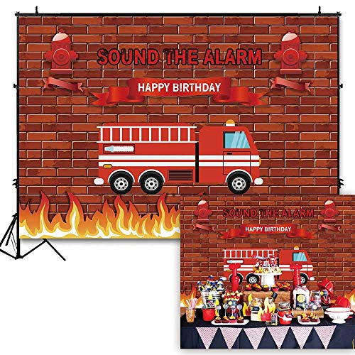 Funnytree 7x5ft Red Firetruck Birthday Party Backdrop Sound The Alarm Baby Boy Photography Background Brick Wall Fire Emergency Rescue Firefighter Invitation Decorations Photo Banner Photobooth Props