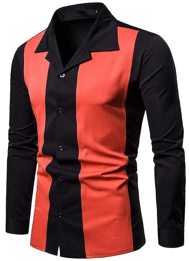 Blyent Men Casual Long Sleeve Contrast Color Lapel Neck Button Down Shirts