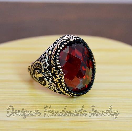 c87c04f502da1 MEN'S gemstone ring, silver men ring, ottoman mens ring, red garnet stone,  gift for him, 925 sterling silver ring, two tone ring, husband ring, ...