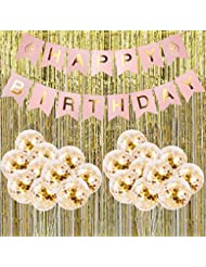 AmyHomie Happy Birthday Party Decoration Set/Supplies/Banner Foil Fringe Curtains Backdrop, Gold Confetti Balloons, Perfect for Celebration Wedding