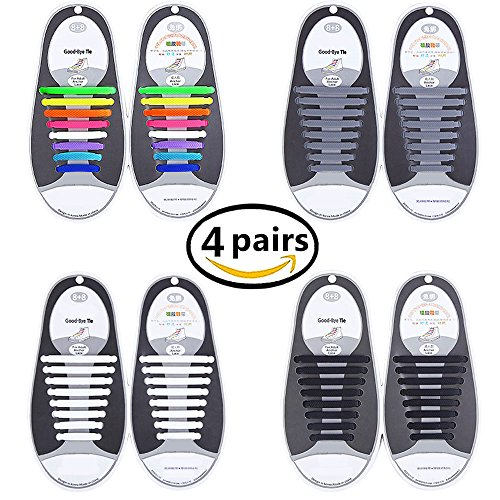 Talent Fashion 4 Packs of Kids/Adults Tieless Elastic Silicone No Tie Shoelaces Waterproof Rubber Flat Running Shoe Laces for Sneakers Board Shoes Casual Shoes and Boots (Shoes For Adults)