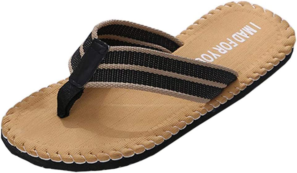 Yomiafy Mens Summer Flip Flops Non-Slip Casual Home Sandals Beach Comfortable Slipper Yellow,US:10