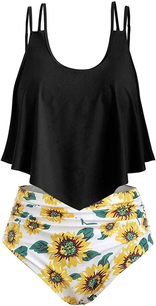 Thenxin Womens Swimsuit Two Piece Tankini Flounce Ruffled Top with High Waisted Sunflower Print Bottom Bathing Suits