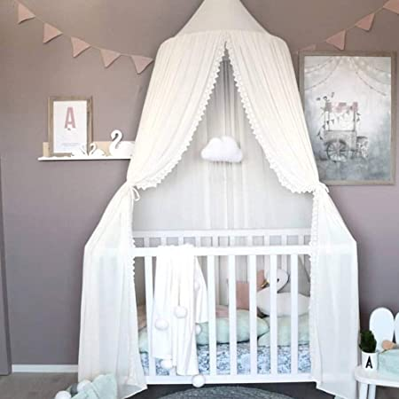 sunsang Cotton Canvas Dome Bed Canopy Kids Play Tent Mosquito Net for Baby Kids Indoor outdoor Playing Reading Height 220/cm//86.6in