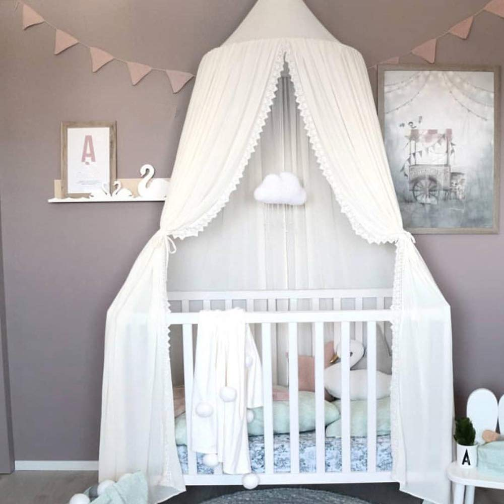 HOUTBY Princess Dome Bed Canopy Cotton Canvas Mosquito Net Kids Play Tent Hanging House Decoration for Baby Kids Indoor Outdoor Playing Reading