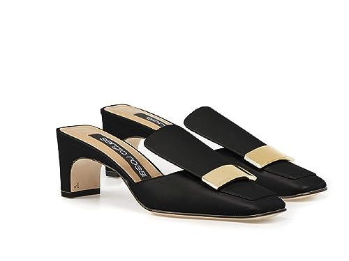 Tanga de Mujer Sergio Rossi, Zapatillas de Cuero Negras. - Número de Modelo: