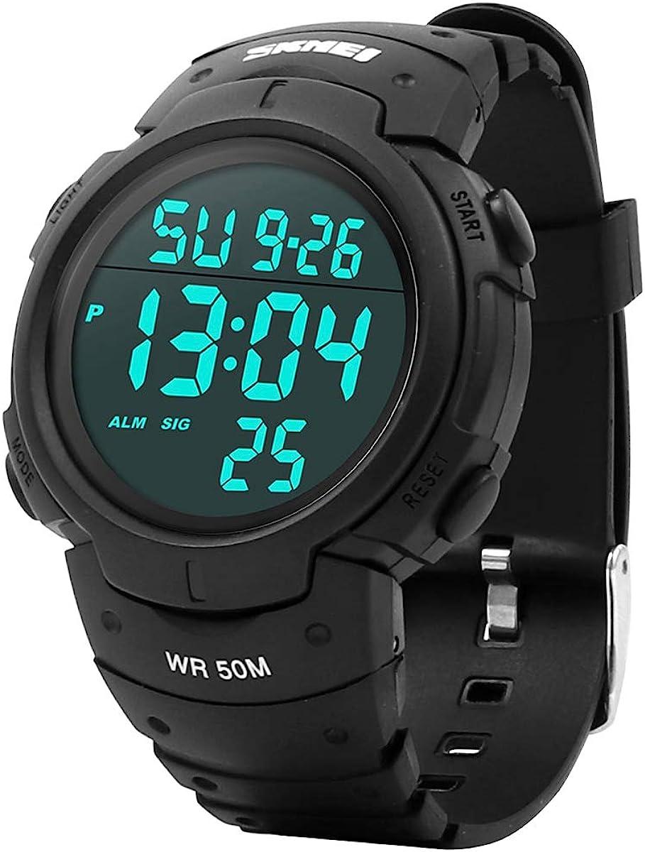 Welltop - Reloj digital deportivo para hombre, resistente al agua, con retroiluminación LED, temporizador, alarma, deportivo, LED, para hombre