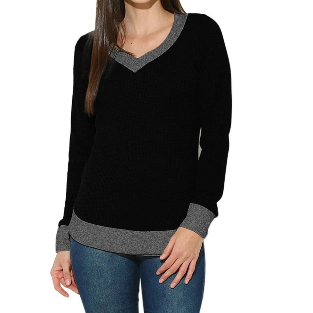 Toimoth Women Long Sleeve Casual Curve Hem Sweater Women Fashion Tops(Black,XL)