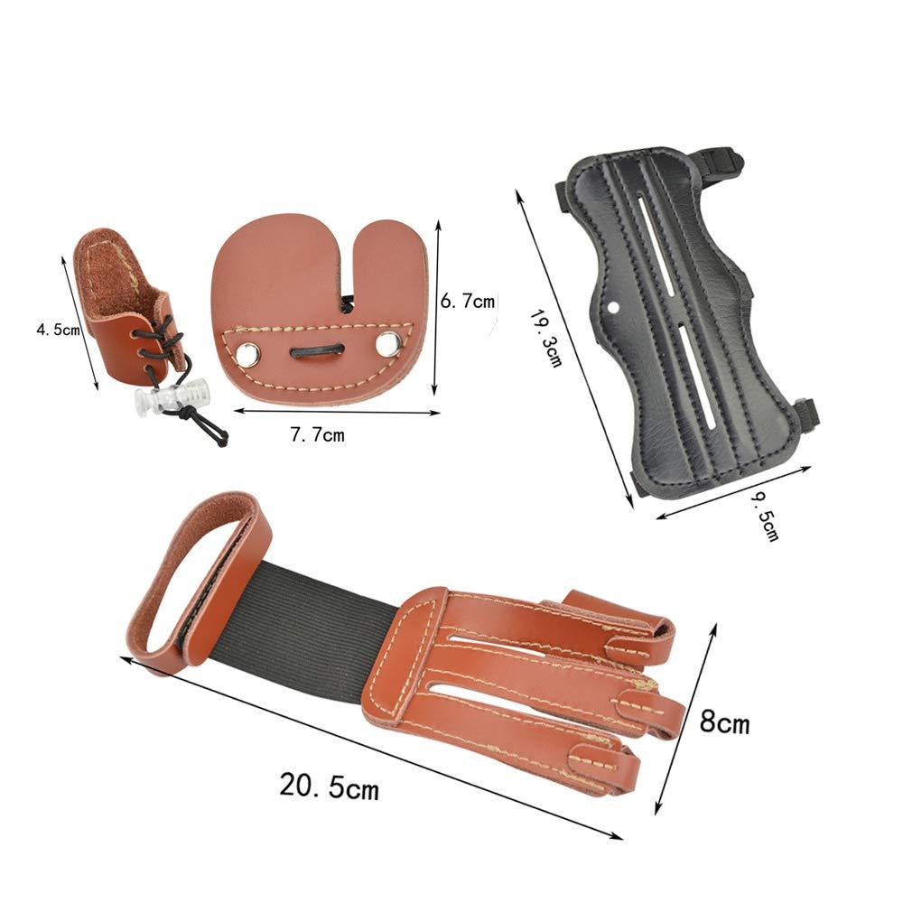 SHARROW Tiro con Arco Guardia del Brazo Protector de Brazos Guardia de Mano Finger Tabs Protector de Dedos Cuero de Vaca Ajustable para Arco Largo Recurvo Protector