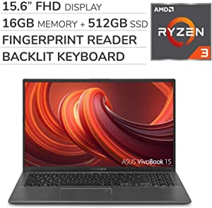 ASUS VivoBook 2019 Premium 15.6'' FHD Laptop Notebook Computer, 4-Core AMD Ryzen 3 3200U 2.6GHz, 16GB RAM, 512GB SSD, No DVD, Backlit Keyboard, Wi-Fi, Bluetooth, Webcam, HDMI, Windows 10 Home S