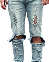 Herren Slim Fit Jeans Stretch Destroyed Zerrissen Verwaschen Hose Denim