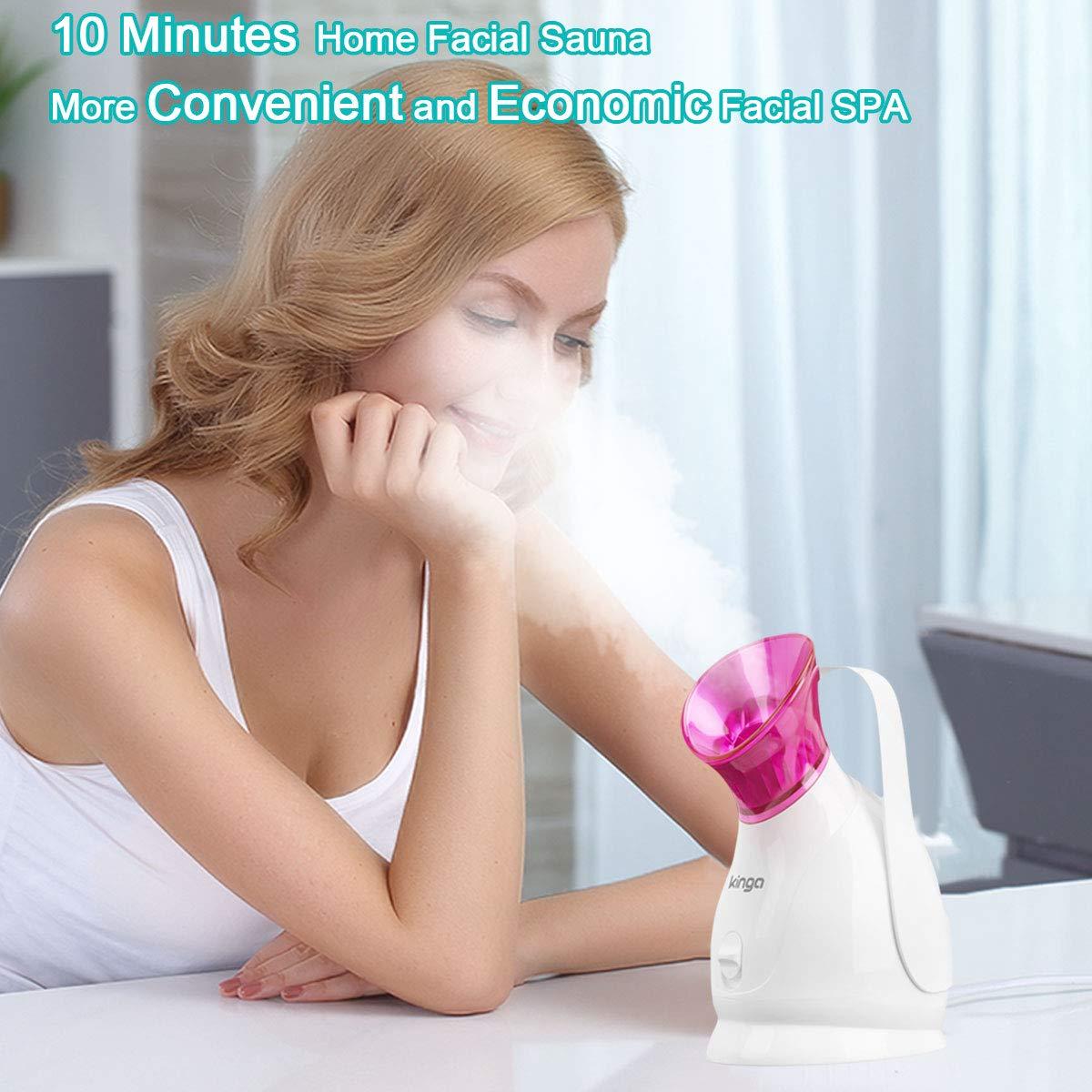 Facial Steamer Face Steamer KINGA Hot Mist Skin Moisturizing Opening Skin Pores Removing Blackhead Home SPA 5PCS Skin Care Kit: Beauty