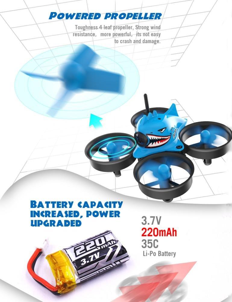 Dreamyth Shark Hunting 013pro Micro FPV RC Drone Quadcopter With 5.8G 1000TVL 40CH Camera VR006 VR-006 3 Inch Goggles Nice Gift (blue 1) by Dreamyth