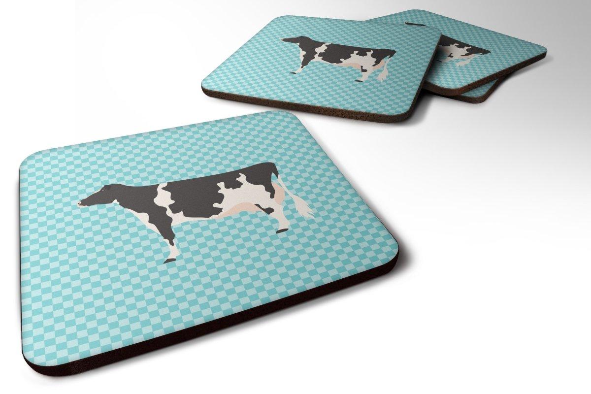 Caroline's Treasures BB7996FC 4個セット Holstein 牛 ブルー チェックフォームコースター 4枚セット 3 1/2 x 3 1/2インチ マルチカラー   B073XPS2BH