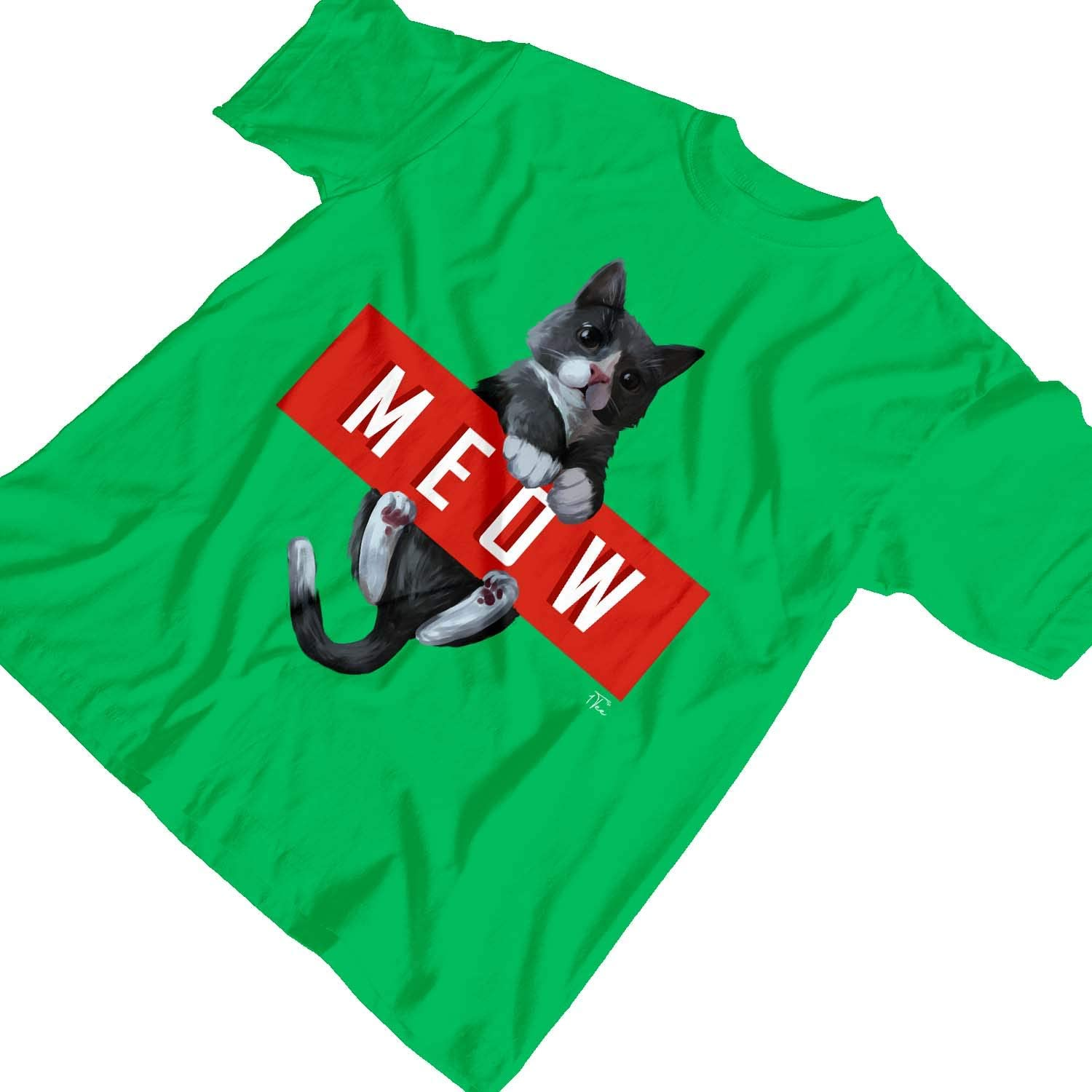 1Tee Womens Loose Fit MEOW Cat T-Shirt