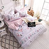 Auvoau Pink Girls Bedding Sets Cartoon Animal Horse Butterfly Print Duvet Cover for Kids Toddler Teen Soft Cozy Colorful Floral Horse Geometric Gingham Plaid Striped Grey Twin-Fitted Sheet Size 3Piece
