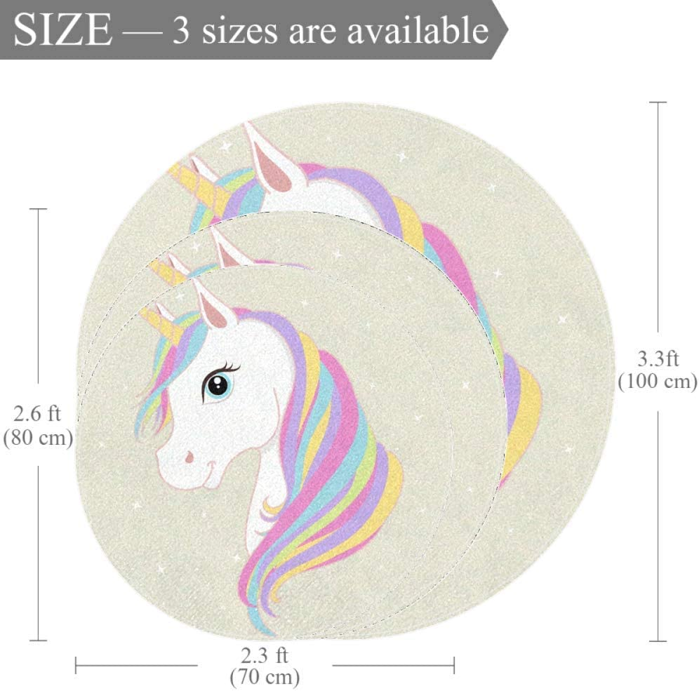 Wetia Pink Unicorn Heart Round area rug for kid anti-slip outdoor rugs soft with a suede surface gift for girl and boy for living room kids bedroom baby room balcony circle 23.5