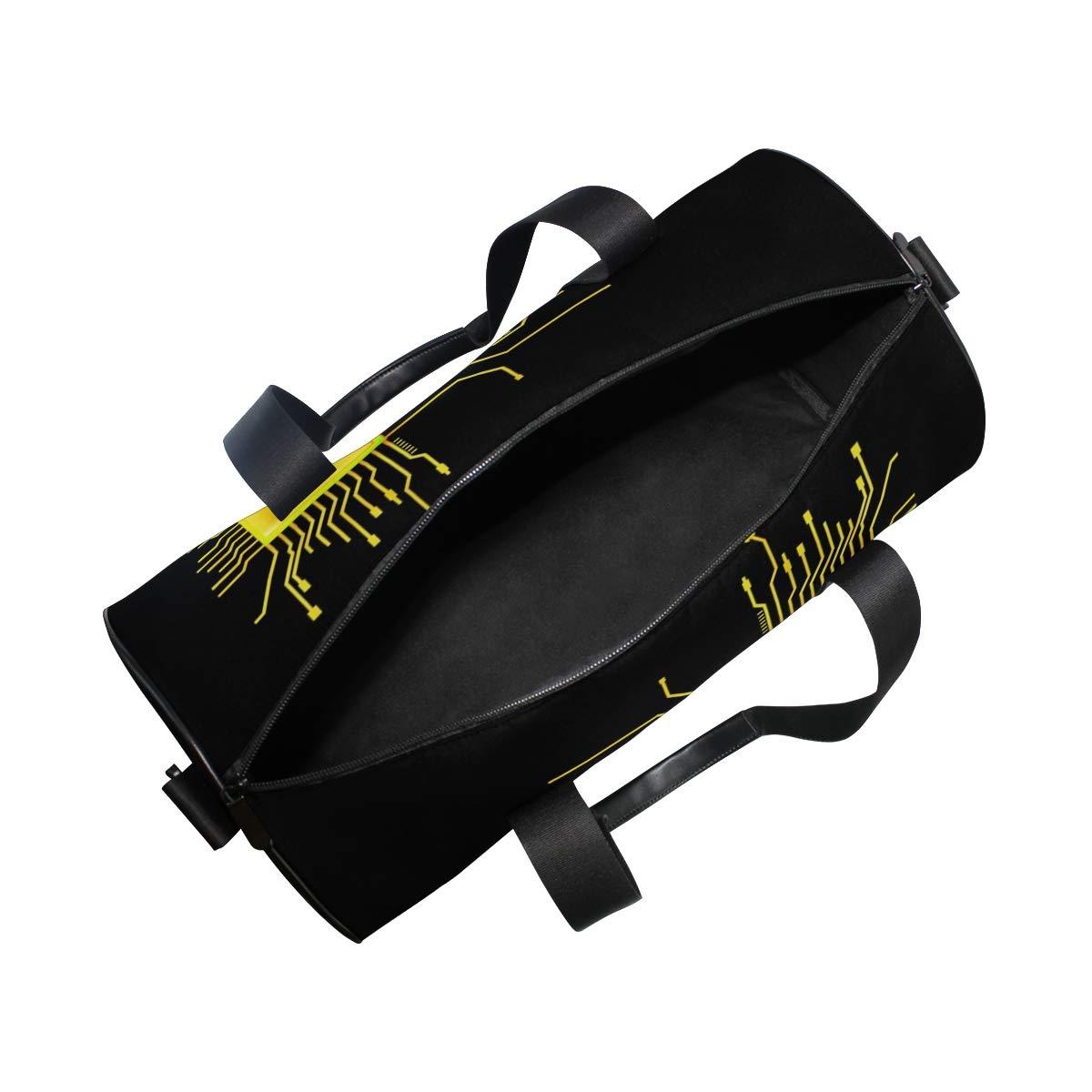 Gym Bag with Computer Geek Circuit Nerd Print Travel Weekender Duffel Bag for Man and Woman