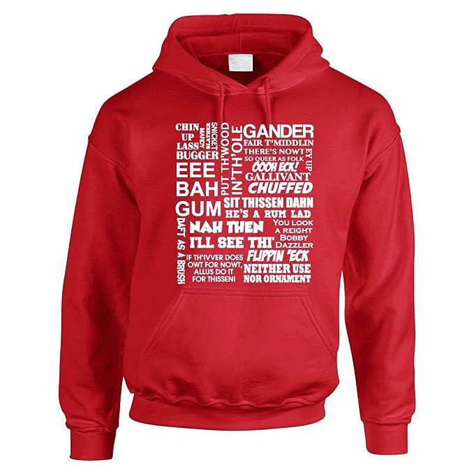 Yorkshire diciendo famosas - inglesas/County/diseño de rosas/novedad Hombres de/sudaderas con capucha multicolor rosso L: Amazon.es: Ropa y accesorios