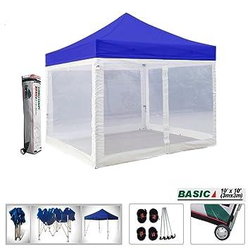 Basic 10x10 Ez Pop up Canopy Screen Houses Shelter Instant Party Tent Gazebo W/4  sc 1 st  Amazon.com & Amazon.com : Basic 10x10 Ez Pop up Canopy Screen Houses Shelter ...