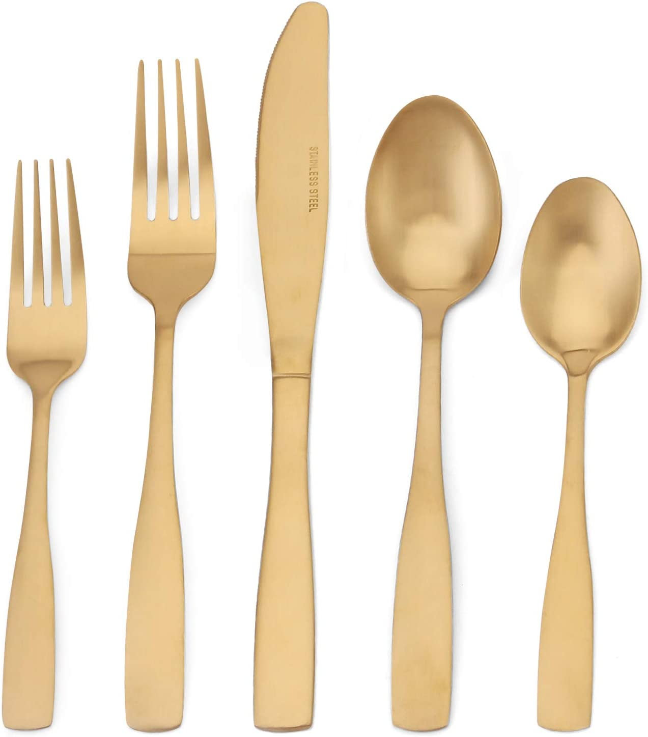 Matte Gold Silverware Set, 20-Piece Stainless Steel Flatware Set, Tableware Cutlery Set Service for 4, Utensils for Kitchens, Dishwasher Safe