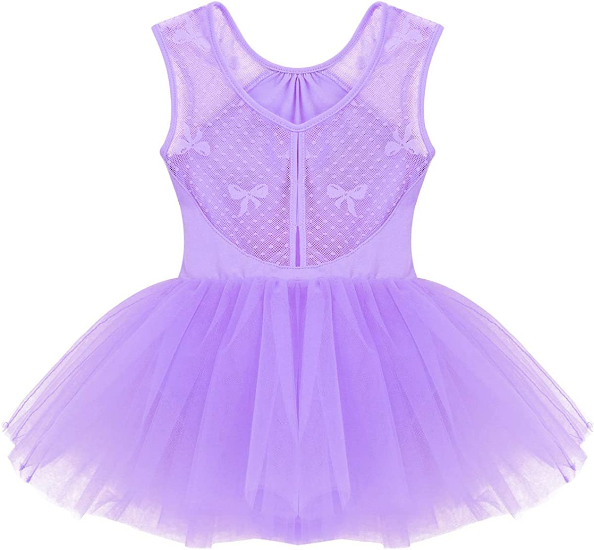 FEESHOW Kids Girls Mesh Splice Camisole Leotard Gymnastics Ballet Dance Ruffle Tutu Dress