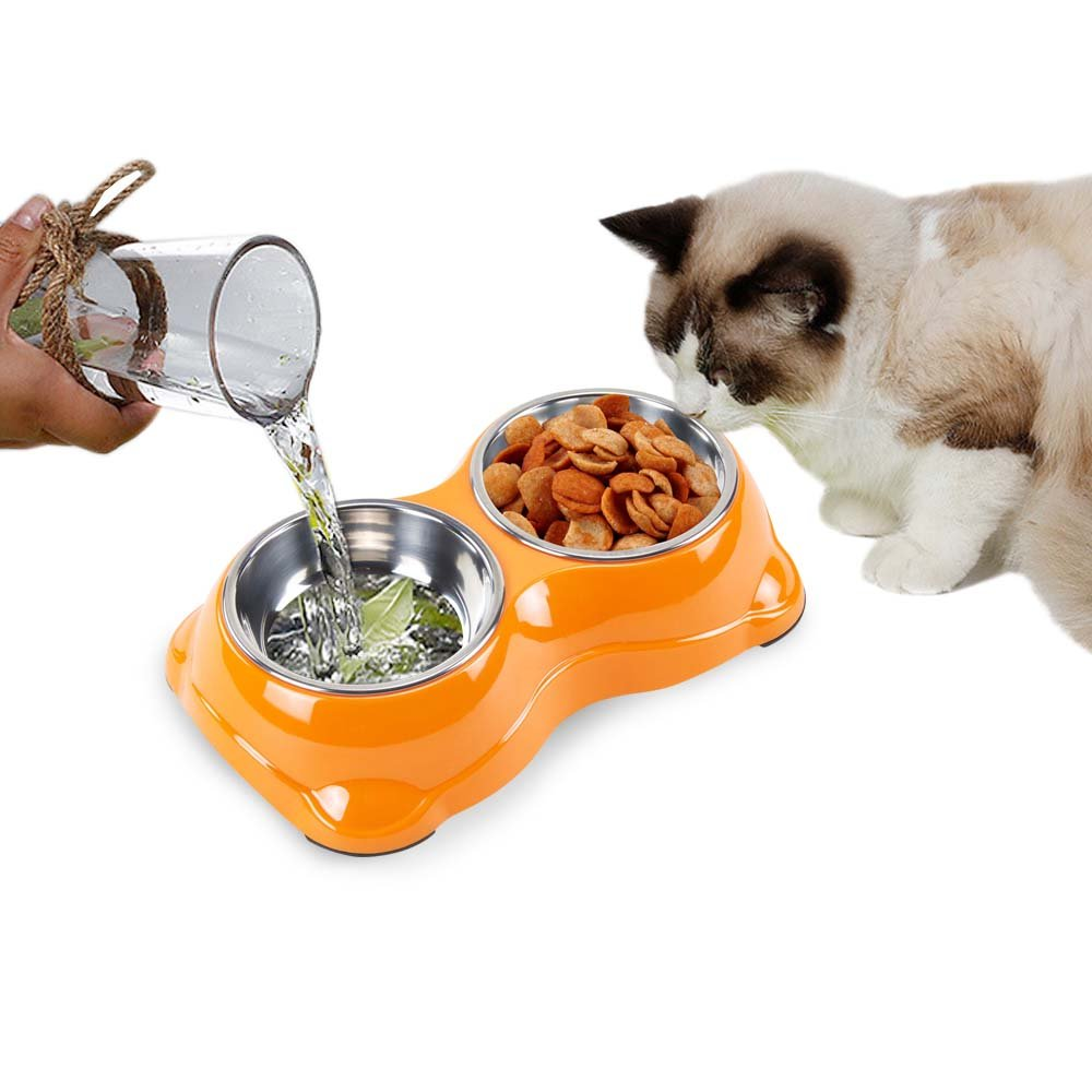 Pettom Stainless Steel Dog Bowl Double Food Water Feeder Bowls Diner Feeding Station with Stand Animal Pet Food Holder for Dogs Cats (Orange)