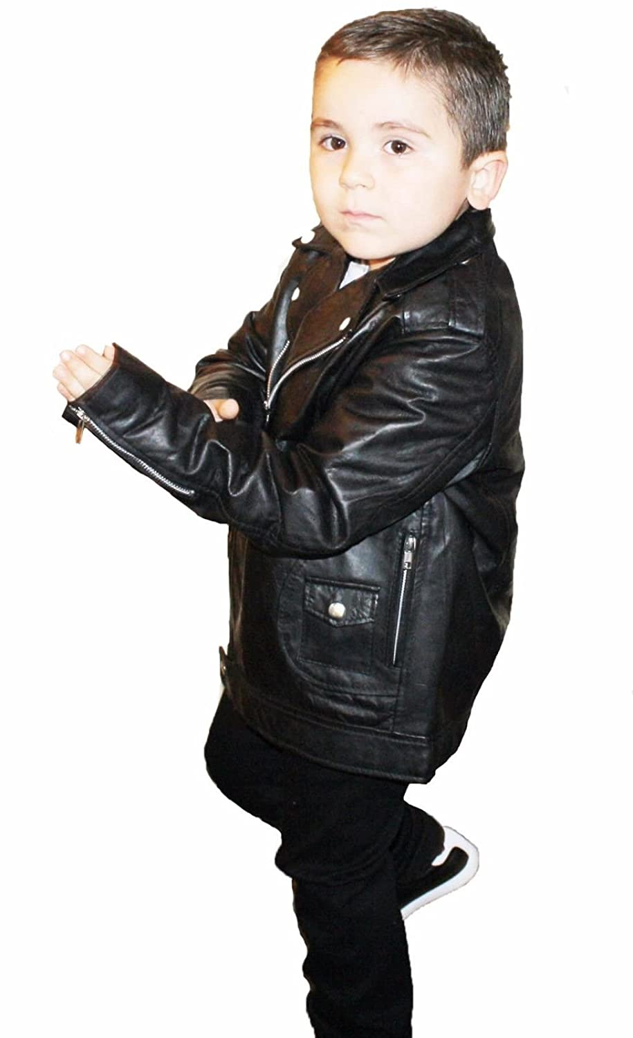Kids Unixes Genuine Soft Leather Jacket Outerwear Biker Jacket