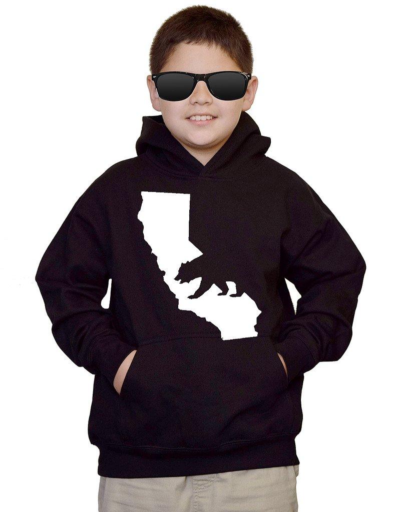 Youth Cali Bear Map V168 Black kids Sweatshirt Hoodie Large