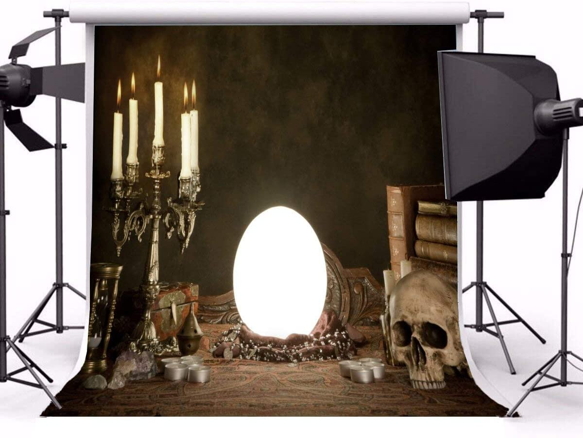 GoEoo 5x5ft Lighting Candles Halloween Backdrop for Pictures Retro Books Reflective Mirror Horrible Sacrifice Skull Photography Background Vinyl Photo Studio Props