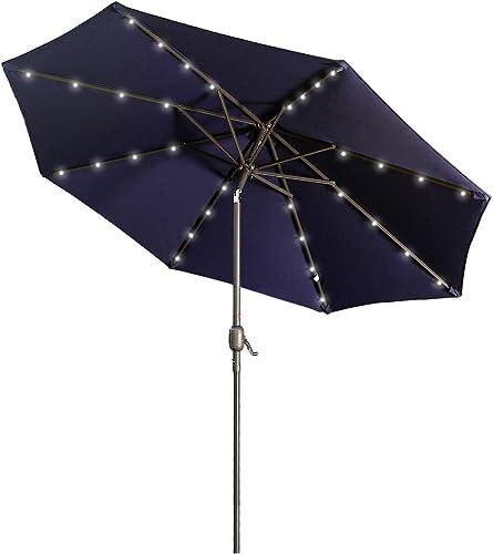 Aok Garden 9 ft Solar LED Lighted Patio Umbrella Outdoor Umbrella