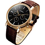 SINOBI Noble Mans Quartz Wrist Watch Leather Band Brown and Black Waterproof