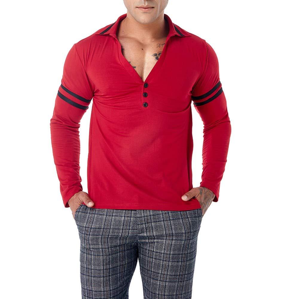 ALIKEEY V - Cuello De Botón De Solapa Hombres Rayas Camisa De Manga Larga  con Cuello En ... 776b34076ed4