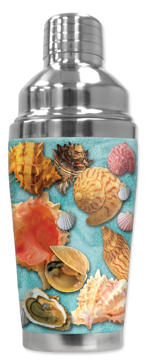Mugzie 204-SHA'Seashells' Cocktail Shaker with Insulated Wetsuit Cover, 16 oz, Black