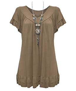 Vanilla Inc. New Ladies Womens Gypsy Frill Hippy Plus Size Necklace Top Mocha UK Size 20-22