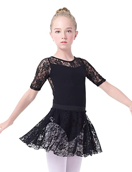 b1d3d493e Amazon.com  Kids  Lace Half Sleeve Leotard Skirt Suit Tutu Dress For ...