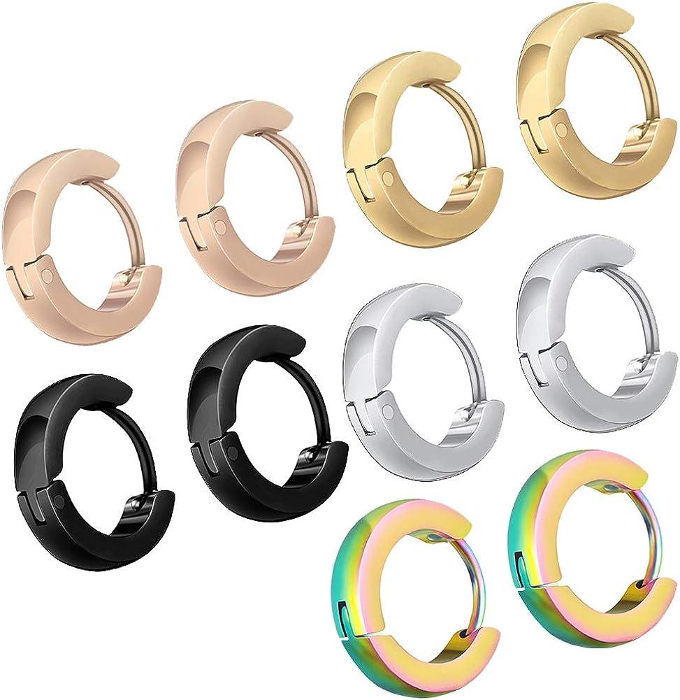 18G Surgical Stainless Steel Small Hoop Earrings Hypoallergenic Huggie Sleeper Earrings for Men Women 5 Pair